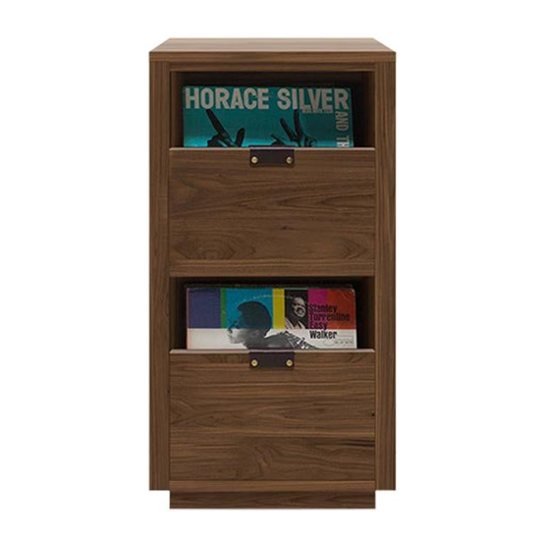 Dovetail 1 x 2 Vinyl Storage Cabinet Natural Walnut with 2 Drawers