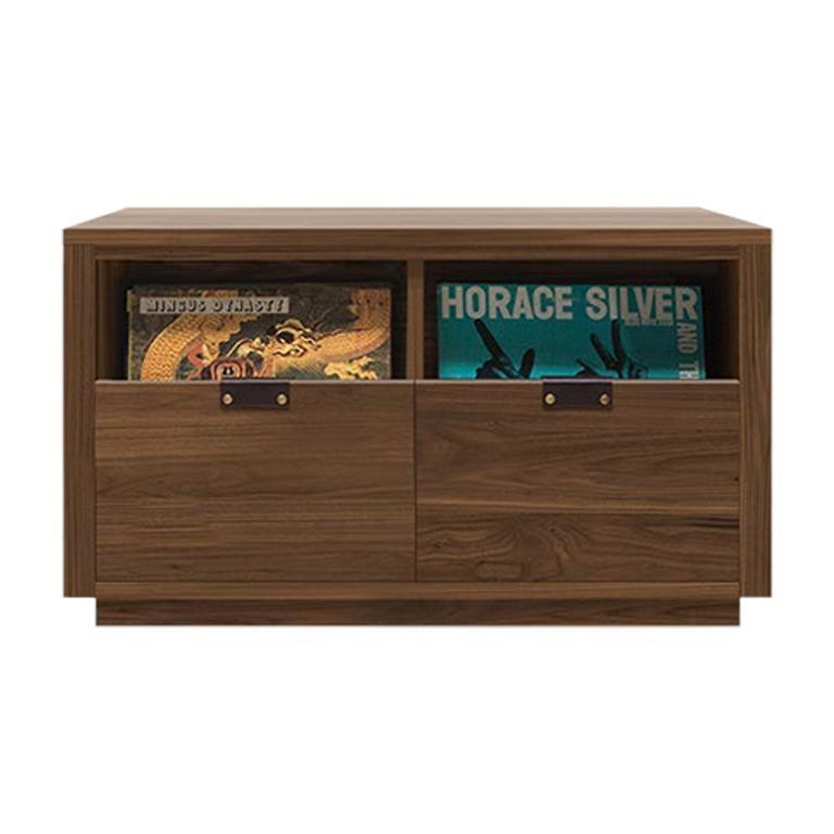 Dovetail 2 x 1 Vinyl Storage Cabinet Solid Natural Walnut 2 Drawers