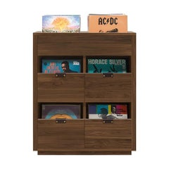 Dovetail 2 x 2.5 Vinyl Storage Cabinet Solid Natural Walnut with Flip Bins