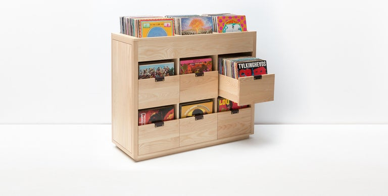 Dovetail Vinyl Record Storage Cabinet in Solid Ash with 3 Drawers In New Condition For Sale In Nyack, NY