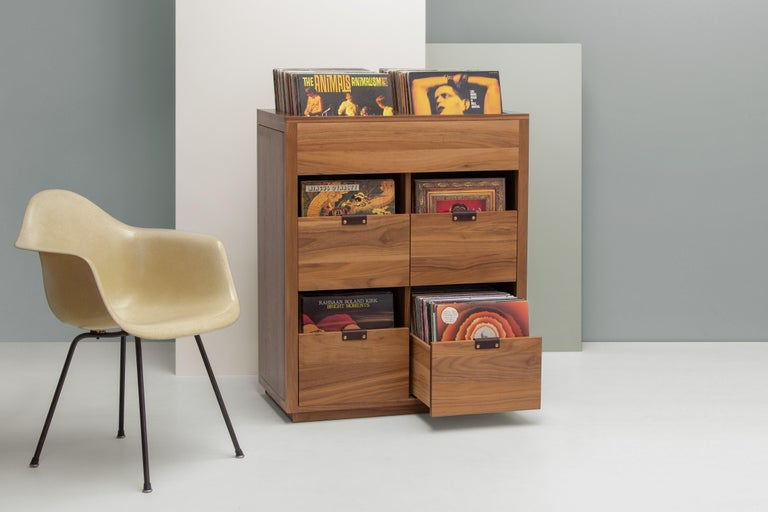 Contemporary Dovetail Vinyl Record Storage Cabinet in Solid Ash with 3 Drawers For Sale