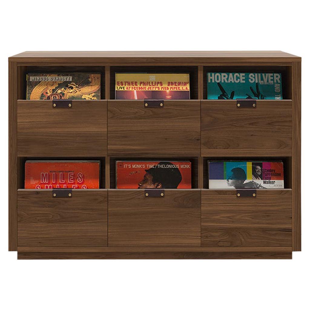 Dovetail 3 x 2 Vinyl Storage Cabinet Solid Natural Walnut 6 Drawers