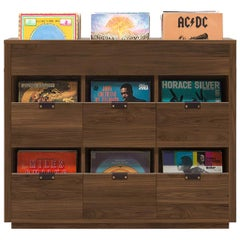 Dovetail 3 x 2.5 Vinyl Storage Cabinet Solid Natural Walnut with Flip Bins
