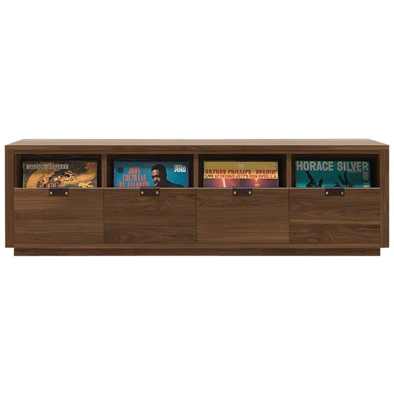 Dovetail 4 x 1 Vinyl Storage Cabinet Solid Natural Walnut 4 Drawers
