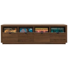 Dovetail 4 x 1 Vinyl Storage Cabinet Solid Natural Walnut 4 Drawers