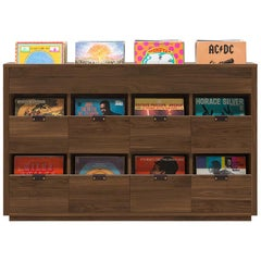 Dovetail 4 x 2.5 Vinyl Storage Cabinet Solid Natural Walnut with Flip Bins