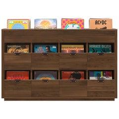 Dovetail 4 x 2.5 Vinyl Storage Cabinet Solid Natural Walnut with Flip Bins