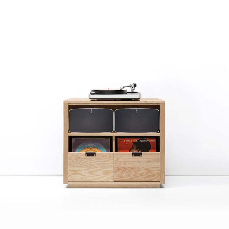 """Our dovetail vinyl storage cabinets with equipment shelves are sized to fit the most popular Sonos speakers and works with Sonos One, Play 1, Play 3, Play 5, Beam, Playbase & Playbar. The drawers in our dovetail cabinets utilize a """"file drawer"""""""