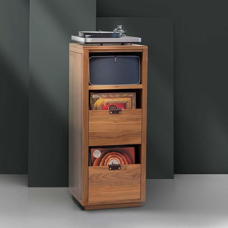 Modern Dovetail for Sonos Vinyl Storage Cabinet with Equipment Shelf For Sale