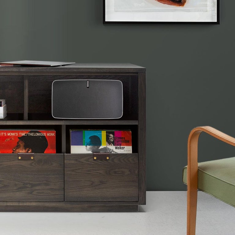 American Dovetail for Sonos Vinyl Storage Cabinet with Equipment Shelf For Sale