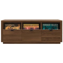 Dovetail Vinyl Record Storage Cabinet in Solid Natural Walnut with 3 Drawers