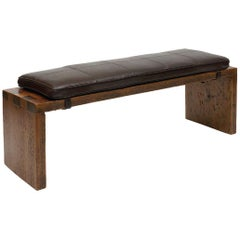 Dovetail Wood Bench with Dark Brown Leather Seat by Powell & Bonnell