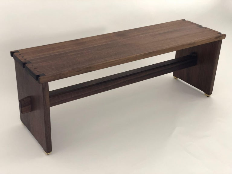 Dovetailed Bench in Walnut For Sale 5
