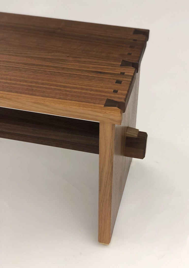 Dovetailed Bench in Walnut In New Condition For Sale In Princeton, NJ