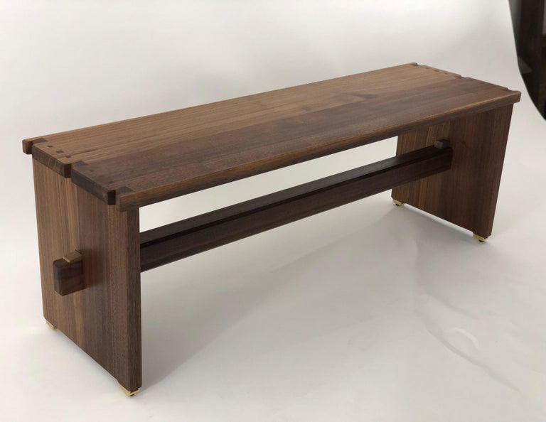 Oiled Dovetailed Bench in Walnut For Sale