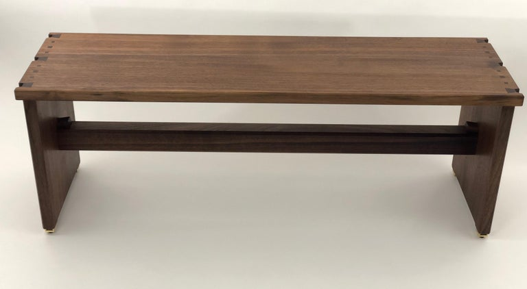 Dovetailed Bench in Walnut For Sale 3