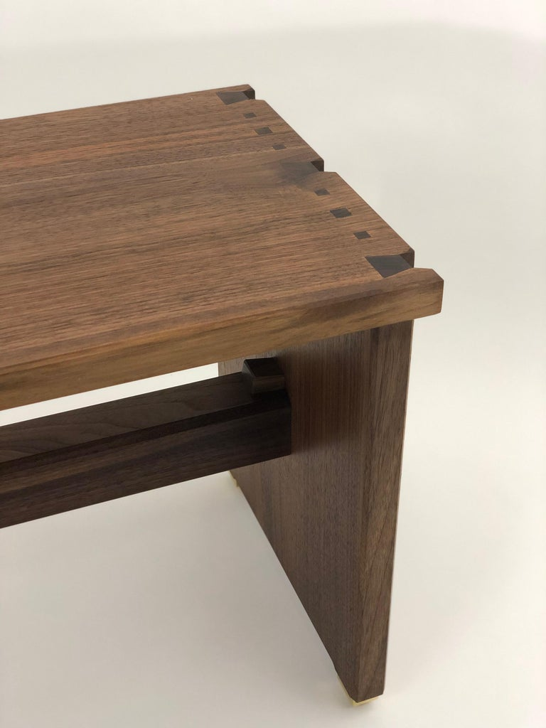 Dovetailed Bench in Walnut For Sale 4