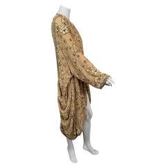 Downton Abbey Style Pearl Beaded Silk Chiffon Evening Coat