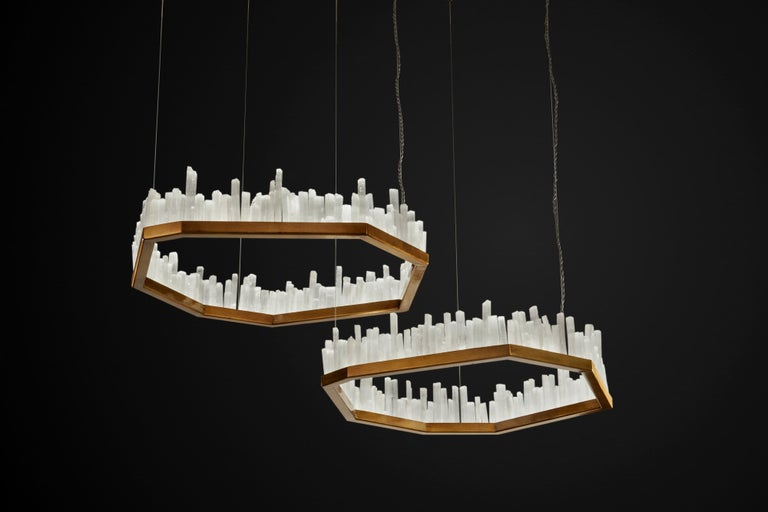 Modern Downtown, White Selenite Pendant Lamp For Sale