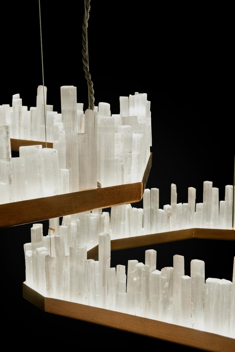 Brazilian Downtown, White Selenite Pendant Lamp For Sale