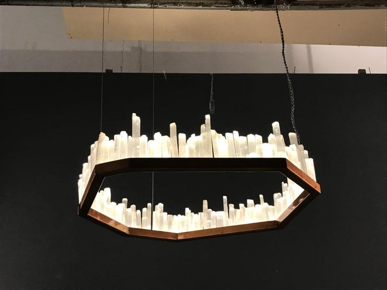 2010s Downtown, White Selenite Pendant Lamp For Sale