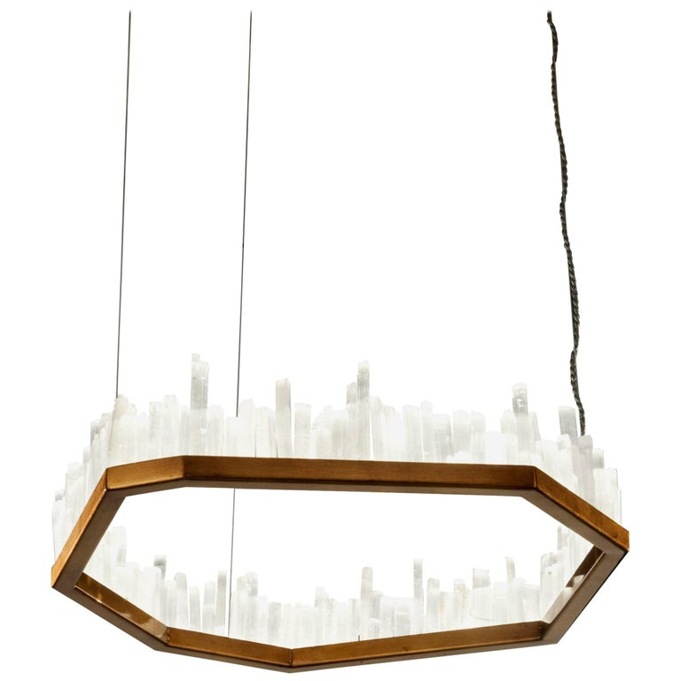 Downtown, White Selenite Pendant Lamp For Sale
