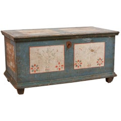 Dowry Chest with Original Blue Paint & Floral Design, Northern Europe circa 1780