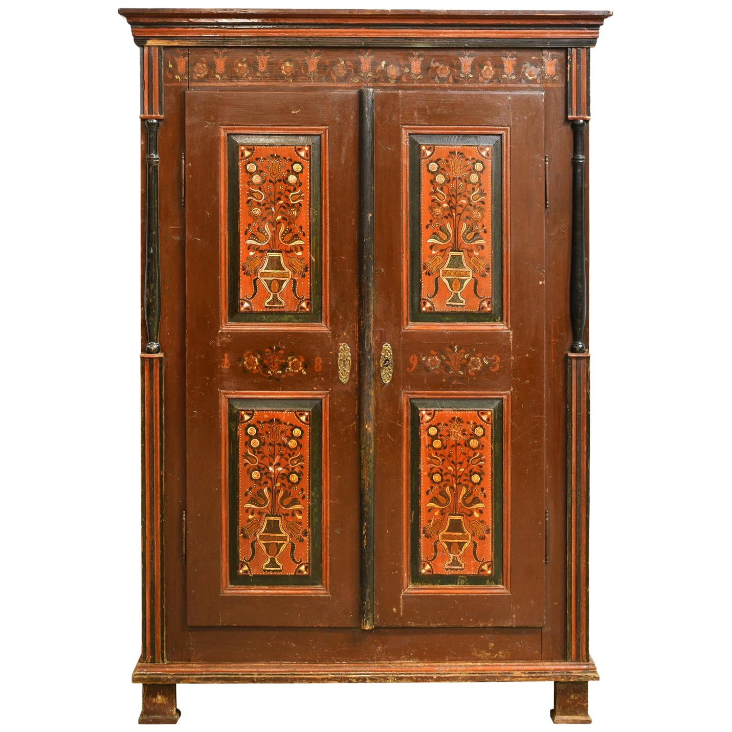Antique 19th Century Dowry or Wedding Armoire w/ Maroon Paint & Floral Bouquets