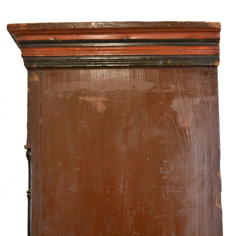 Antique 19th Century Dowry or Wedding Armoire w/ Maroon Paint & Floral Bouquets For Sale 3