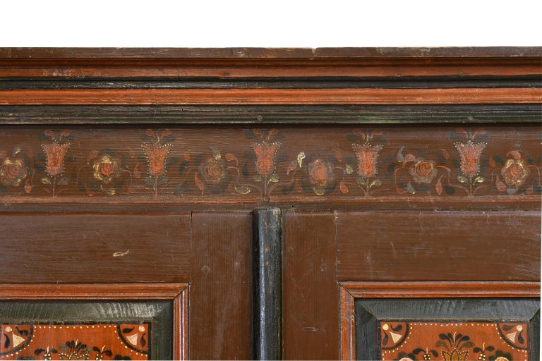 Antique 19th Century Dowry or Wedding Armoire w/ Maroon Paint & Floral Bouquets For Sale 5