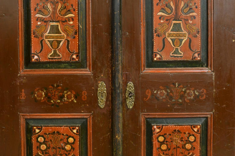 Antique 19th Century Dowry or Wedding Armoire w/ Maroon Paint & Floral Bouquets For Sale 7