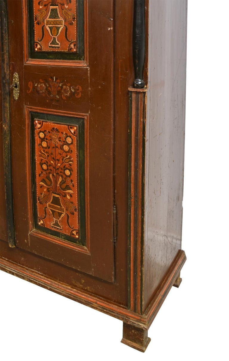 Antique 19th Century Dowry or Wedding Armoire w/ Maroon Paint & Floral Bouquets For Sale 9