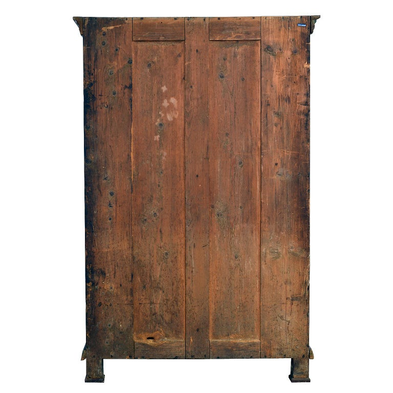 Antique 19th Century Dowry or Wedding Armoire w/ Maroon Paint & Floral Bouquets For Sale 12