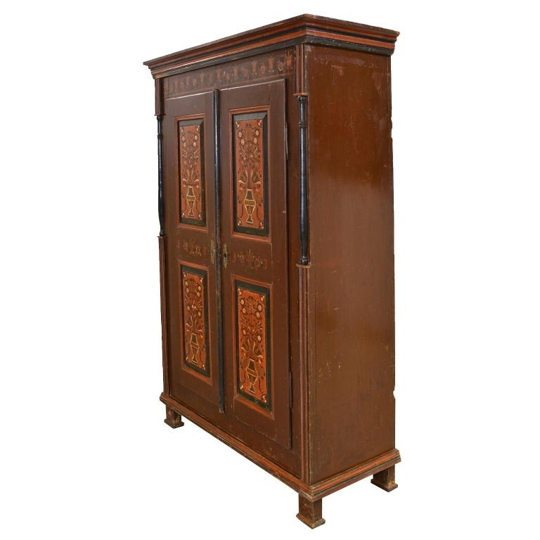 Folk Art Antique 19th Century Dowry or Wedding Armoire w/ Maroon Paint & Floral Bouquets For Sale
