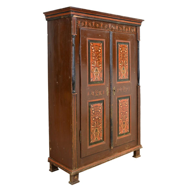 Austrian Antique 19th Century Dowry or Wedding Armoire w/ Maroon Paint & Floral Bouquets For Sale