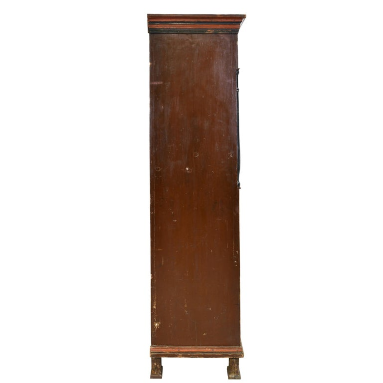 Hand-Crafted Antique 19th Century Dowry or Wedding Armoire w/ Maroon Paint & Floral Bouquets For Sale