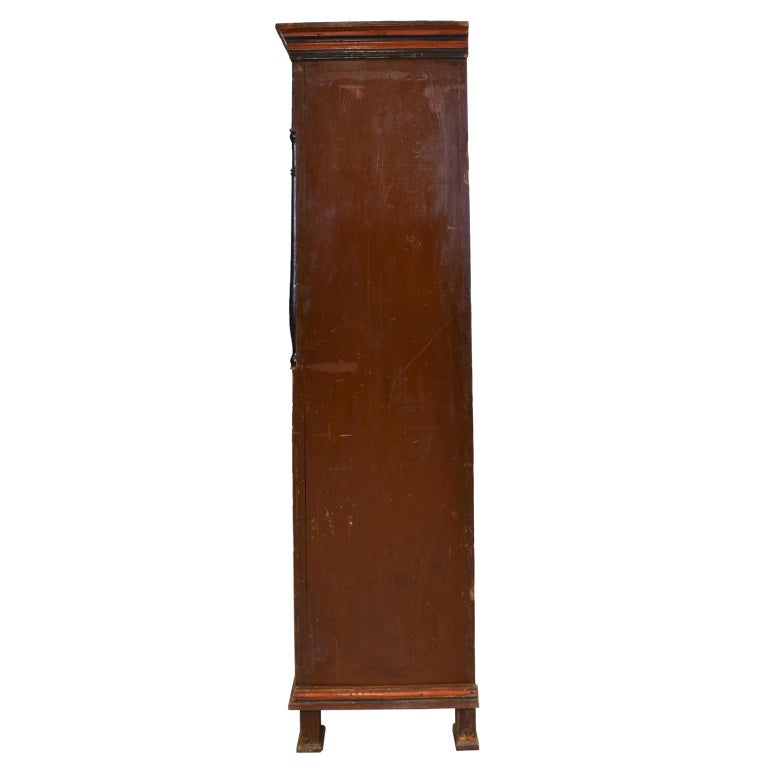 Antique 19th Century Dowry or Wedding Armoire w/ Maroon Paint & Floral Bouquets In Good Condition For Sale In Miami, FL