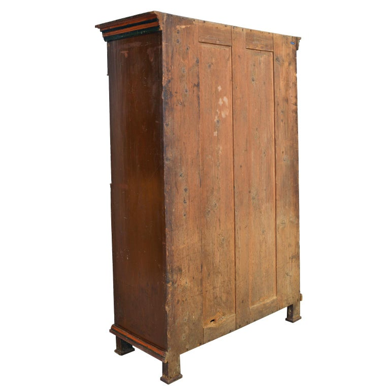 Early 19th Century Antique 19th Century Dowry or Wedding Armoire w/ Maroon Paint & Floral Bouquets For Sale