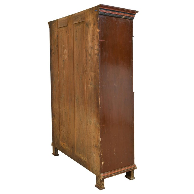 Pine Antique 19th Century Dowry or Wedding Armoire w/ Maroon Paint & Floral Bouquets For Sale
