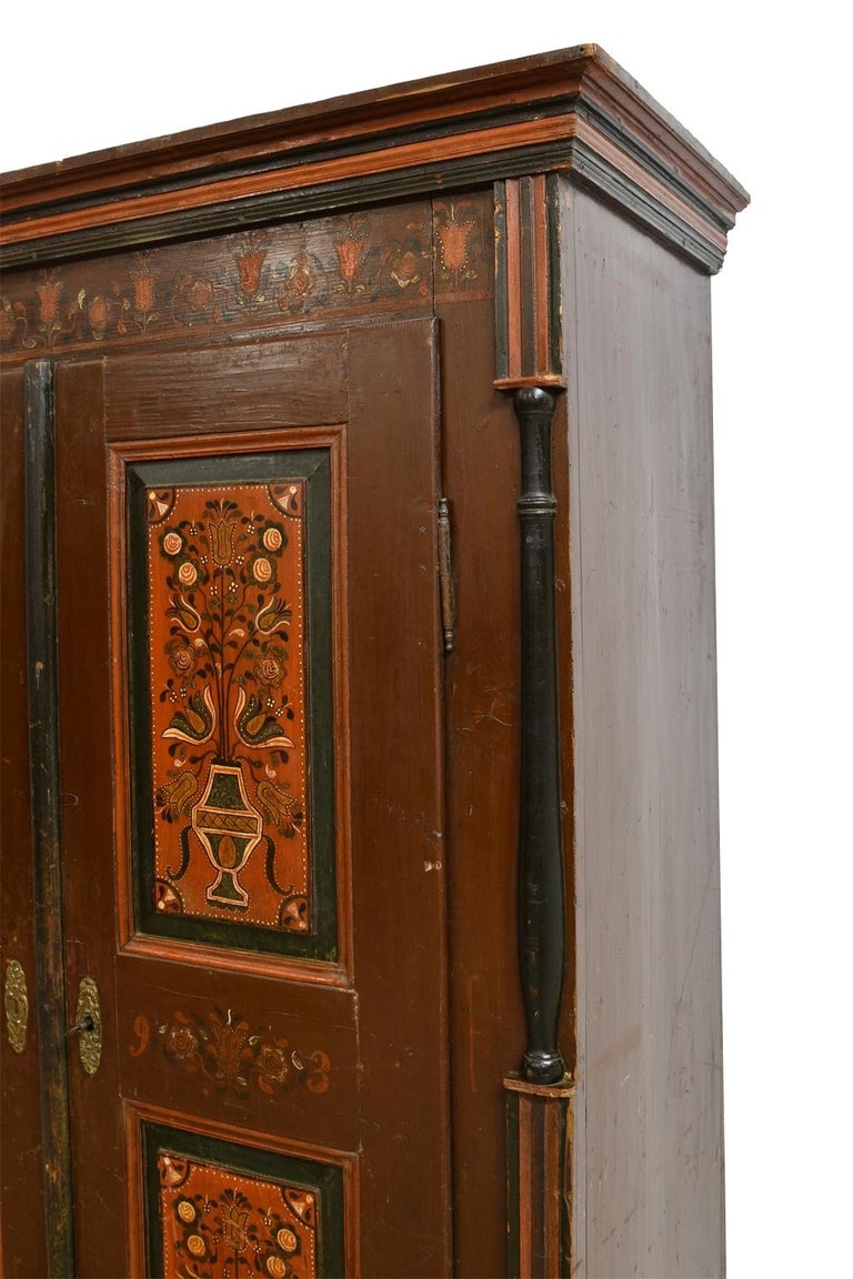 Antique 19th Century Dowry or Wedding Armoire w/ Maroon Paint & Floral Bouquets For Sale 1