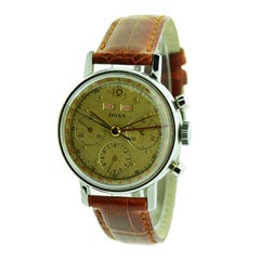 Doxa Steel High Grade Triple Date Calendar Watch with Original Dial, circa 1940s