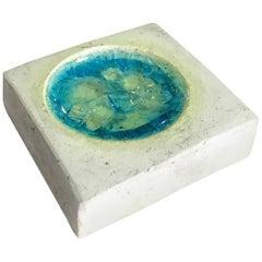 Doyle Lane Midcentury Rare Colored Glass Ceramic Pottery Square Form