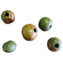 Doyle Lane Midcentury Set of Five Multicolored Tactile Crackle Glaze Beads