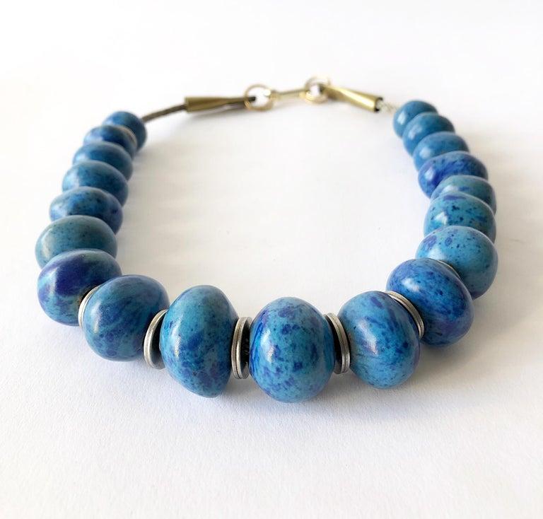 Modernist Doyle Lane Turquoise Ceramic Bead California Studio Necklace For Sale