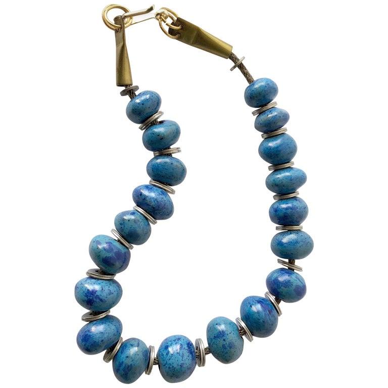 Doyle Lane Turquoise Ceramic Bead California Studio Necklace For Sale