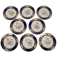 Dozen Dresden China Dinner Dishes with Flowers and Deep Blue Borders
