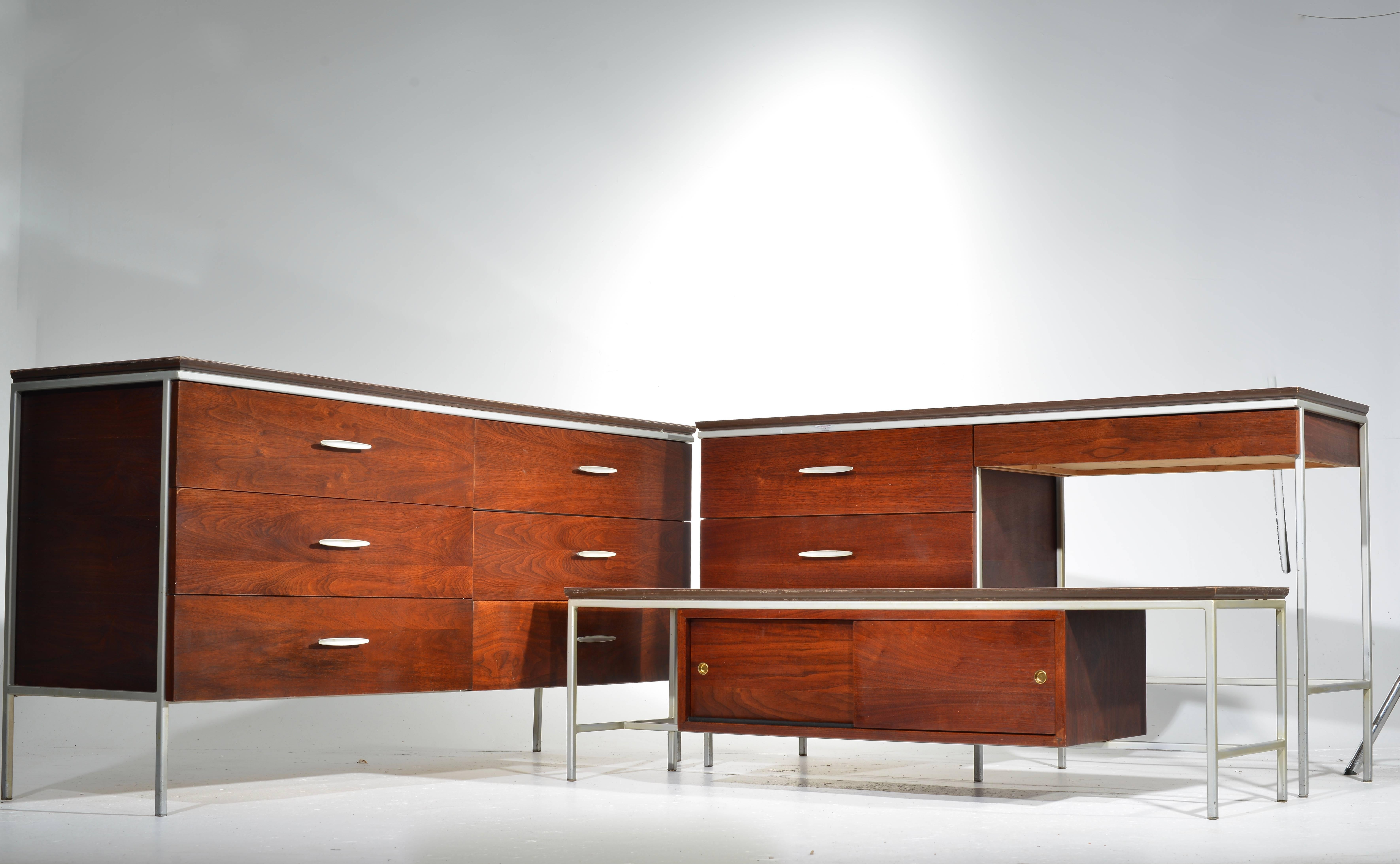 Vista Of California Walnut And Formica Bedroom Set Including Six Drawer  Dresser, Four