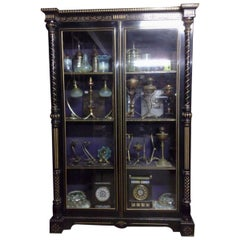 Dr C Dresser Attr. Aesthetic Movement Incised, Gilded & Ebonized Display Cabinet