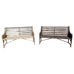 Dr C Dresser for Coalbrookdale Two 'Medieval' Pattern Cast Iron Garden Benches