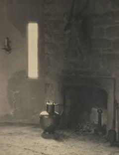 Shadowy Interior Fireplace, Silver Gelatin Photograph, Circa 1920s